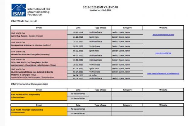 Coppa Del Mondo Di Sci 2020 Calendario.Ismf Skimountaineering World Cup 2019 2020